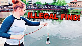 My Girlfriend Found Something Illegal Magnet Fishing! (Illegal Find)