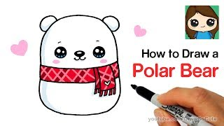 How to Draw a Holiday Polar Bear Easy | Squishmallows