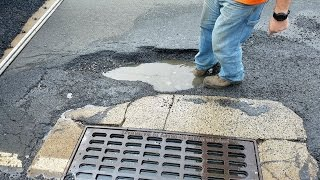Oblivious Drivers Bottoming Out Hitting Pothole on 1 & 9
