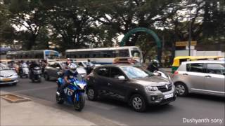 TWO SUPERBIKES RACE FROM ONE TRAFFIC SIGNAL TO ANOTHER IN INDIA (BANGALORE)
