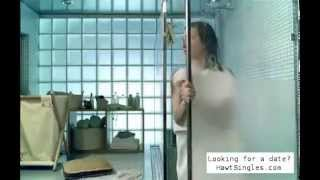 Kidd barges in on a nude showering woman (from a commercial)