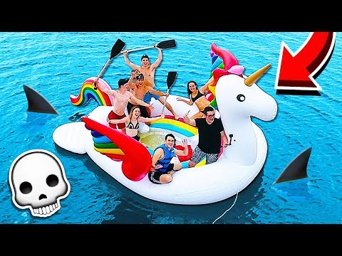 STRANDED ON A 20 FOOT UNICORN FLOAT IN THE OCEAN