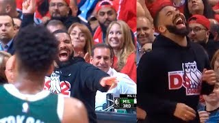 Drake's Epic Reaction After Giannis Antetokounmpo Missed a Free Throw | Raptors vs Bucks Game 4