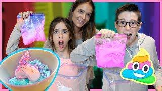 UNICORN POOP ICE CREAM IN A BAG!! - DIY