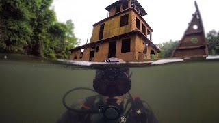 Scuba Diving Half Sunken Tug Boat in River! (Explored for Potential Treasure)   DALLMYD