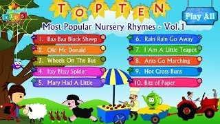 Top 10 - Ten Most Popular Nursery Rhymes Jukebox Vol. 1 with Lyrics
