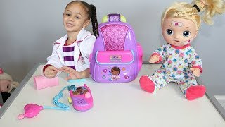 Disney Doc Mcstuffins First Responders Backpack Set with Baby Doll Imani's Family Fun World