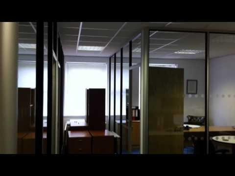 Full height single glazed partitions with DDA compliant manifestation
