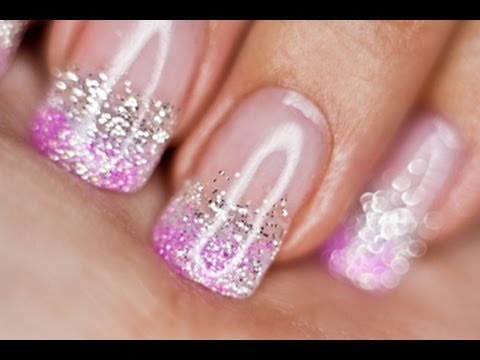 Silver and Pink Glitter nails UV gel