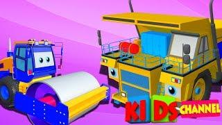 Mega dump truck & road roller   3D Vehicles for kids