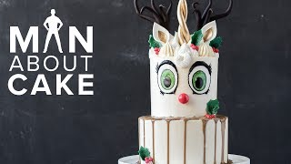 Man About Cake CHRISTMAS SPECIAL | Unicorn Reindeer Buttercream Cake with Joshua John Russell