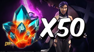 50x Premium Hero Crystal Opening! - Search for Psylocke - Marvel Contest Of Champions