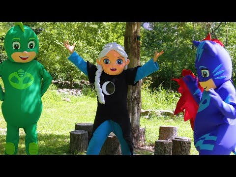 PJ Masks Heroes Catboy vs Luna Girl-Evil Elsa with Paw Patrol Rubble Peppa Pig In Real Life