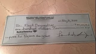 Floyd Mayweather flashes his $100 million check on Instagram. Is he crazy?