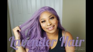 OMG!!Best Lace Front on a Synthetic Wig  Lavender Hair