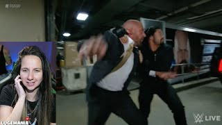 WWE Raw 3/21/16 Roman Reigns Attacks HHH backstage
