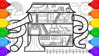 Glitter FUN House Coloring Page and Drawing for Kids How to Draw Glitter Fun House Coloring Page