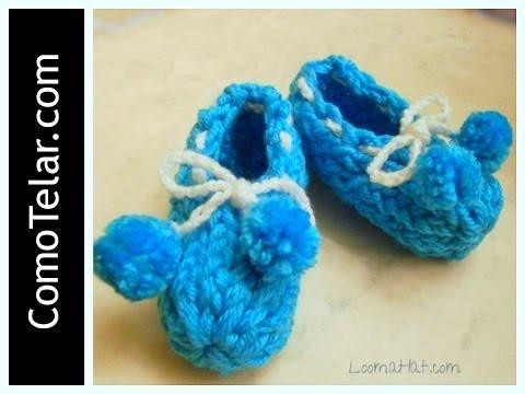 Zapatos de Bebé Tejido en Telar Redondo Circular Loom Knit Baby Booties in Spanish