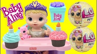 BABY ALIVE Cupcake Birthday Baby with LOL Surprise Dolls Pets