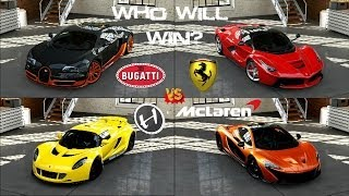 Forza 5 - Bugatti vs Hennessey vs La Ferrari vs McLaren P1 Head to Head Gameplay