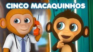 CINCO MACAQUINHOS   5 Little Monkeys Portuguese   canções para crianças