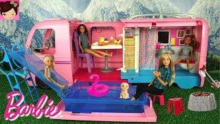 Barbie  Camper Toy with Pool Water Slide - Barbie Chelsea Stacie Skipper Outdoors RV Fun Adventure