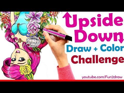 Art Challenge Draw Color UPSIDE DOWN Art Channel Fun2draw