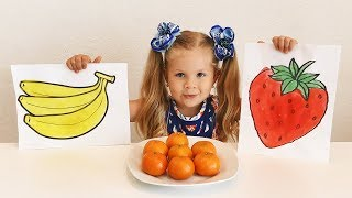 Diana draws and to name Fruit  Educational Video for kids and toddlers with Kids Diana Show