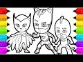 PJ Masks Coloring Pages | How to Draw Catboy, Gekko and Owlette