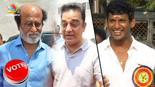 Rajinikanth, Kamal Hassan casts vote at Producers Council Elections 2017   Vishal