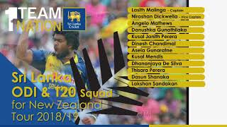 Sri Lanka tour of New Zealand 2018 - Sri Lanka ODI & T20I Squad