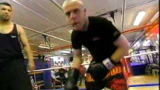 mixed kick boxing sparring. knee to the balls with no groin protection