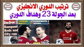 ترتيب الدورى الانجليزى وترتيب هدافى الدورى بعد الجولة 23 وأهداف محمد صلاح