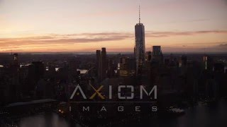 World Trade Center at Sunrise, New York City Aerial Stock Footage |AX118 016 4K youtube
