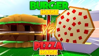 Minecraft HOW TO MAKE -  BURGER HOUSE vs PIZZA HOUSE!!