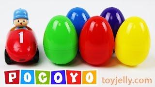 Pocoyo Car Surprise Eggs Learn Colors & Numbers 1 to 10 Nursery Rhymes Spiderman Disney Cars Pokemon