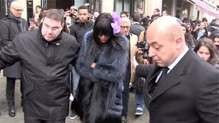 EXCLUSIVE - Naomi Campbell leaving Jean Paul Gaultier Fashion Show and taking the Eurostar in Paris