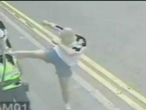 CCTV of shocking attack as man karate kicks traffic warden in Leicester