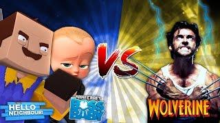 Minecraft HELLO NEIGHBOUR VS WOLVERINE!!!! - DONUT TURNS INTO WOLVERINE - Donut the Dog Minecraft