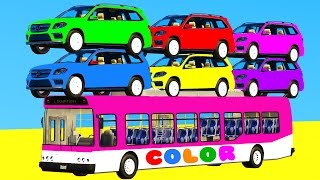 LEARN COLORS with SUV Cars on BUS & Spiderman Cartoon 3D w Superheroes for kids and babies