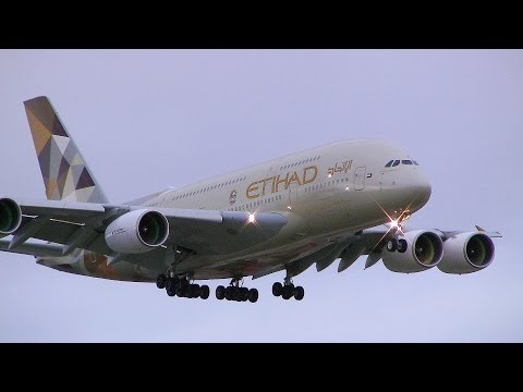 Emirates 777 & Etihad A380 Landing Sydney Airport 16R