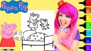 Coloring Peppa & George Pig Jumping On The Bed Coloring Page Prismacolor Markers | KiMMi THE CLOWN