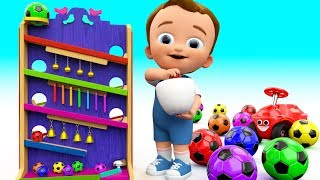 Learn Colors for Children with Baby Play Color Soccerballs Bells  Wooden Slider Toy Set 3D Kids Edu