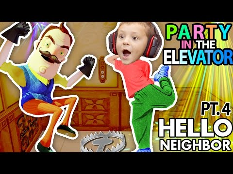 HELLO NEIGHBOR CAN WE PARTY IN YOUR ELEVATOR Scary FNAF Theme Park House FGTEEV Part 4 Alpha 1