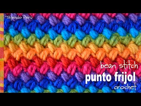 Punto frijol tejido a crochet bello y reversible bean stitch