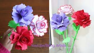 How To Make Paper Rose Flower -  DIY Handmade Craft - Paper Craft