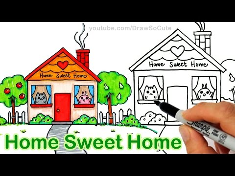 How to Draw a Cartoon House Cute step by step Home Sweet Home