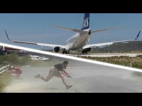JET BLAST throws person on the ground SAS 737 at the Second St Maarten Skiathos 737 Takeoff