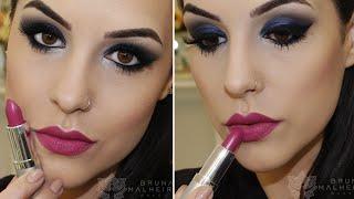 Maquiagem Ousada: Azul + Boca Pink