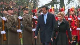 رئيسة كرواتيا وأمير دولة قطر يشهدان توقيع اتفاقيات مشتركة بين البلدين